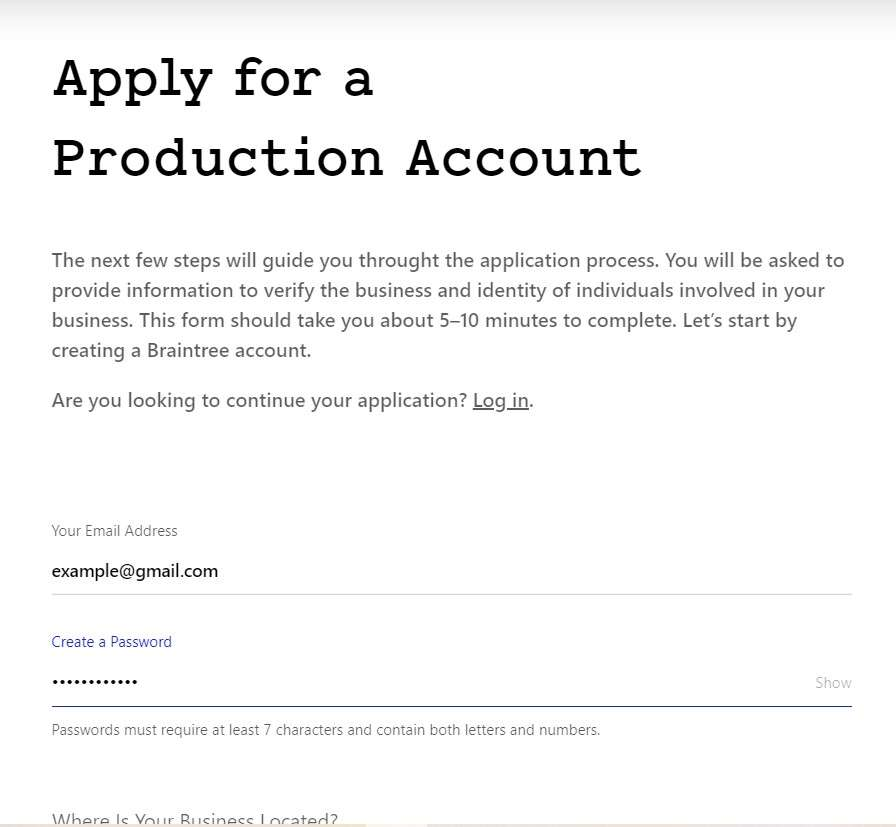 apply for account