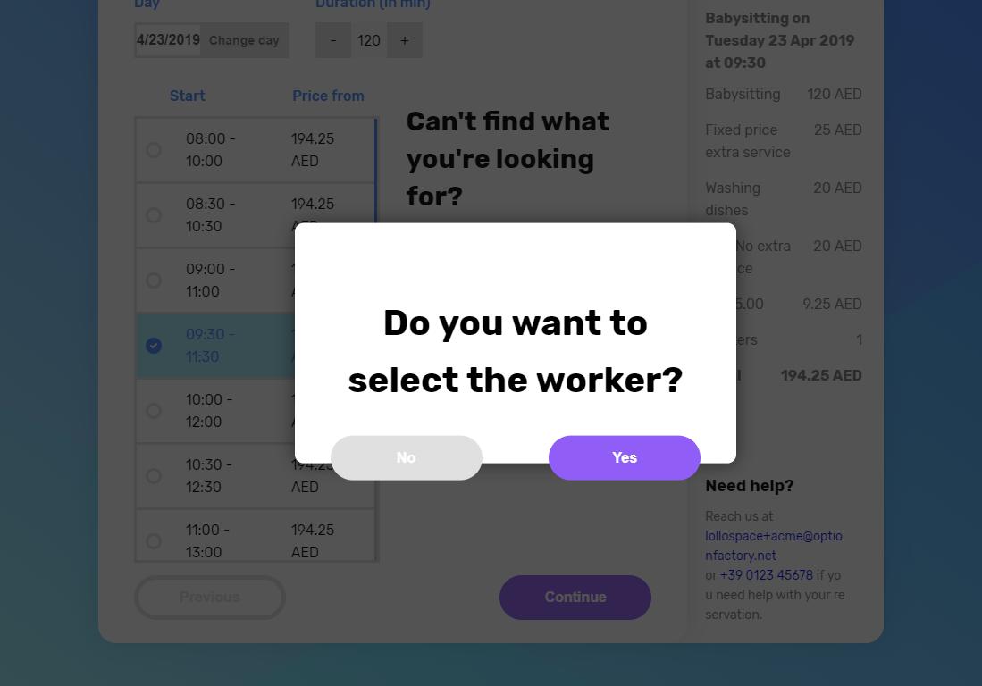 Peekaboox - Selezione dell'operatore durante il checkout/pagamento